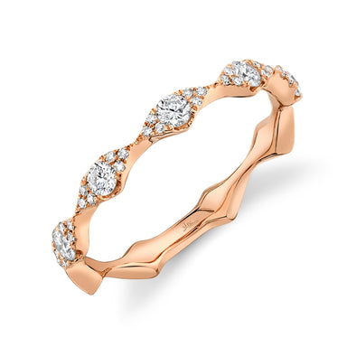 14K Rose Gold Diamond Free Form Band