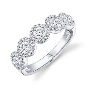 14K White Gold Round + Halo Diamond Medium Band