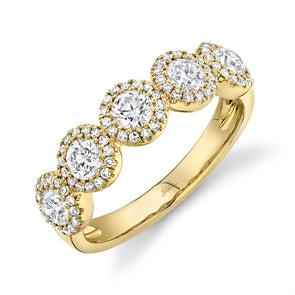 14K Yellow Gold Round + Halo Diamond Medium Band