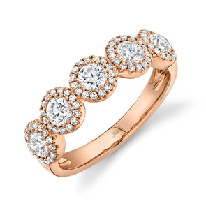 14K Rose Gold Round + Halo Diamond Medium Band