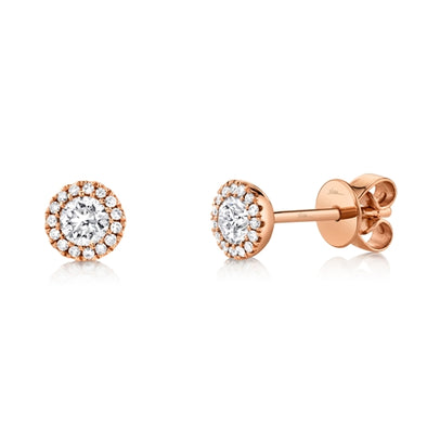 14K Rose Gold Round Brilliant Diamond Stud Earring