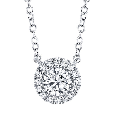14K White Gold Round Brilliant Diamond Necklace