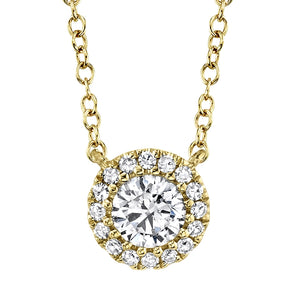 14K Yellow Gold Round Brilliant Diamond Necklace