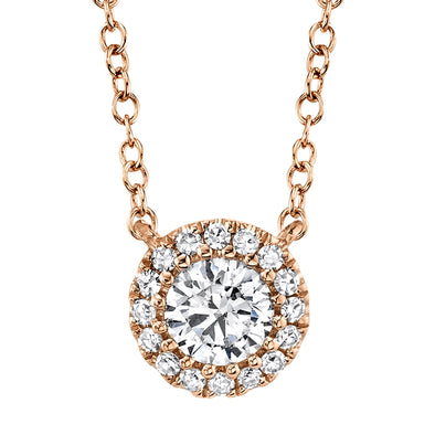 14K Rose Gold Round Brilliant Diamond Necklace