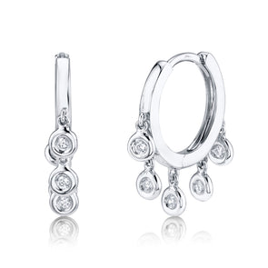 14K White Gold Diamond Bezel Dangle Small Hoop Earring