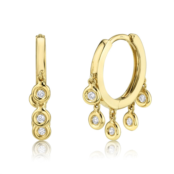 14K Yellow Gold Diamond Bezel Dangle Small Hoop Earring