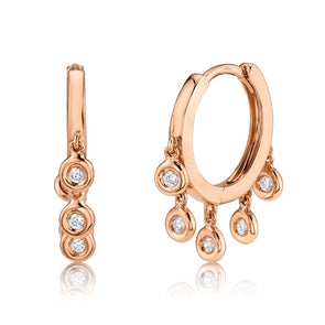 14K Rose Gold Diamond Bezel Dangle Small Hoop Earring