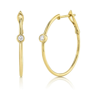 14K Yellow Gold Diamond Bezel Hoop Earring