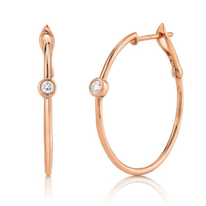 14K Rose Gold Diamond Bezel Hoop Earring