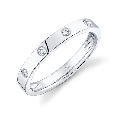 14K White Gold Diamond High Polish Band