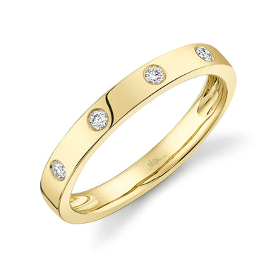 14K Yellow Gold Diamond High Polish Band