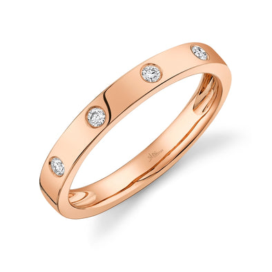 14K Rose Gold Diamond High Polish Band