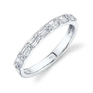 14K White Gold Diamond Baguette + Round Diamond Band