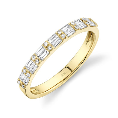 14K Yellow Gold Diamond Baguette + Round Diamond Band