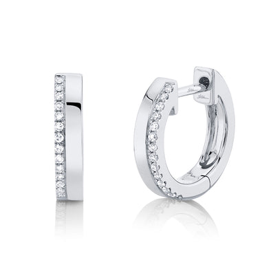 14K White Gold Diamond + High Polished Huggie Earring
