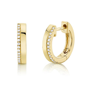 14K Yellow  Gold Diamond + High Polished Huggie Earring