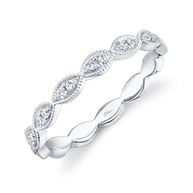 14K White Gold Diamond Marquise Shape Band