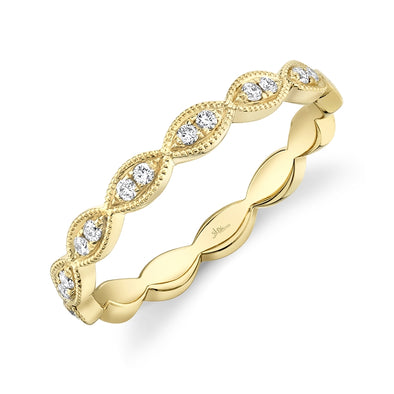 14K Yellow Gold Diamond Marquise Shape Band