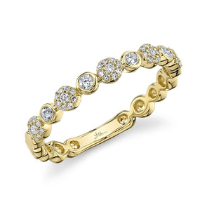 14K Yellow Gold Diamond Circles Band
