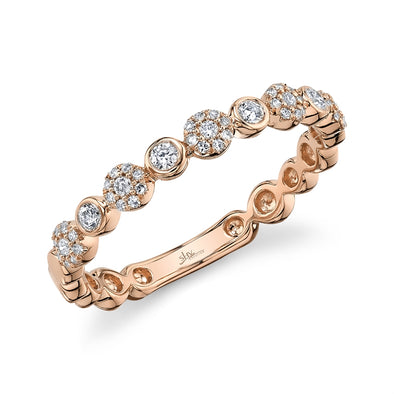 14K Rose Gold Diamond Circles Band