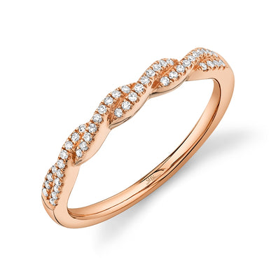 14K Rose Gold Diamond Twist Band