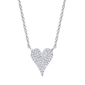 14K White Gold Pave Diamond Heart Necklace (Small)