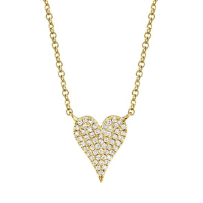 14K Yellow Gold Pave Diamond Heart Necklace (Small)