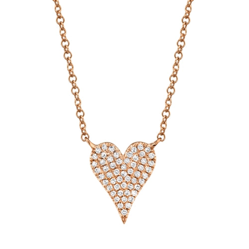 14K Two Tone Gold Pave Diamond Heart Necklace (Small)