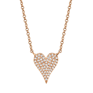 14K Rose Gold Pave Diamond Heart Necklace (Small)