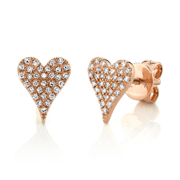 14K Rose Gold Diamond Heart Stud Earrings