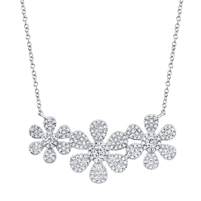 14K White Gold Diamond Tri-Flower Necklace