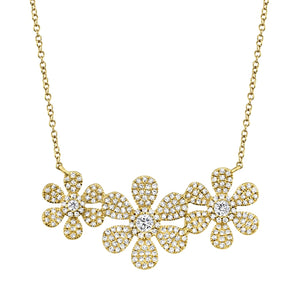 14K Yellow Gold Diamond Tri-Flower Necklace