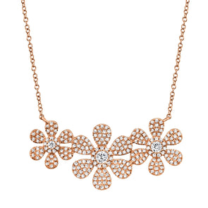 14K Rose Gold Diamond Tri-Flower Necklace