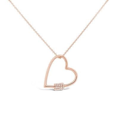 14K Rose Gold Diamond Heart Charm Holder Necklace