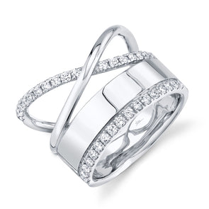 14K White Gold Diamond Polished Crossover Ring