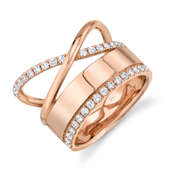 14K Rose Gold Diamond Polished Crossover Ring