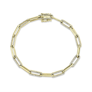 14K Yellow Diamond Paper Clip Link Bracelet