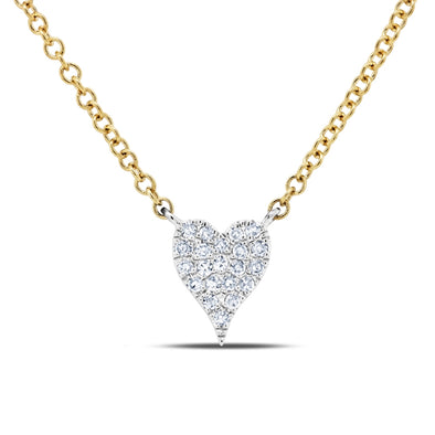 14K Two Tone Gold Pave Diamond Heart Necklace (Mini)