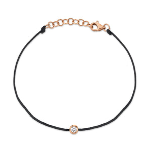 14K Rose Gold Black String Diamond Bezel Bracelet