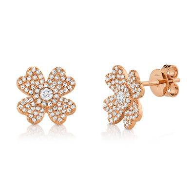 14K Rose Gold Diamond Clover Stud Earrings
