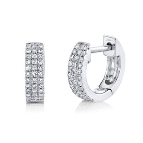 14K White Gold Pave Huggie Earring