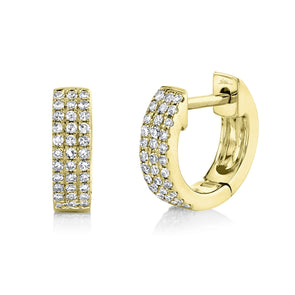 14K Yellow Gold Pave Huggie Earring