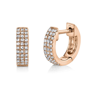 14K Rose Gold Pave Huggie Earring