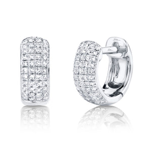 14K White Gold Diamond Pave Huggie Earring