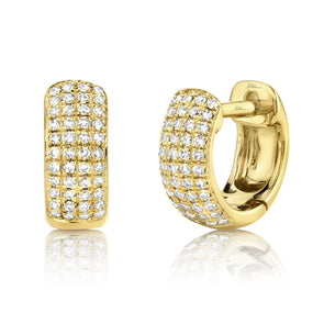 14K Yellow Gold Diamond Pave Huggie Earring
