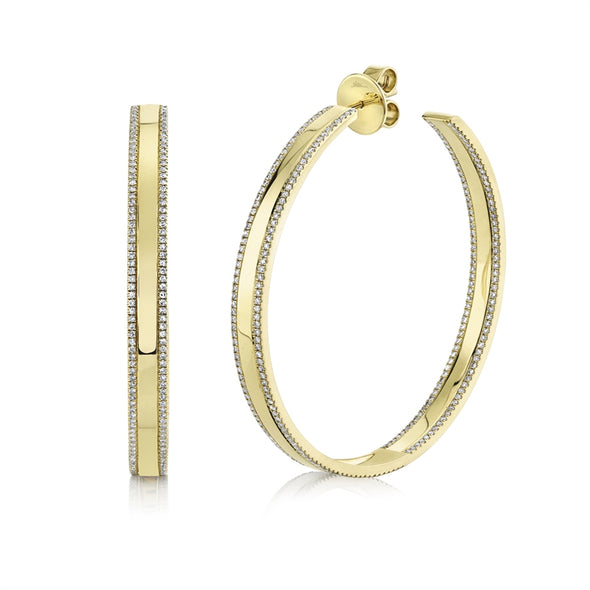 14K Yellow Gold Diamond High Polished Hoop Earring