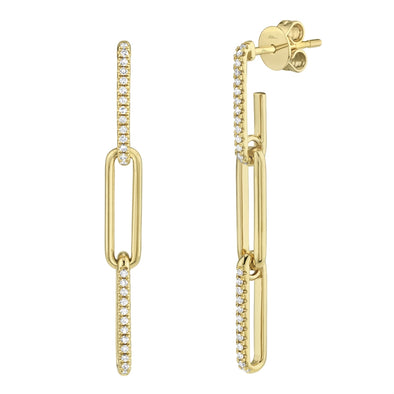 14K Yellow Gold Diamond Link Drop Earrings