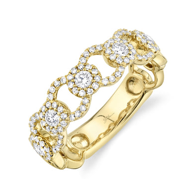 14K Yellow Gold Diamond Halo Link Ring