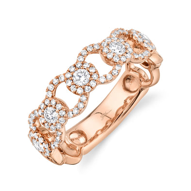14K Rose Gold Diamond Halo Link Ring