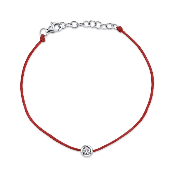 14K White Gold Red String Diamond Bezel Bracelet